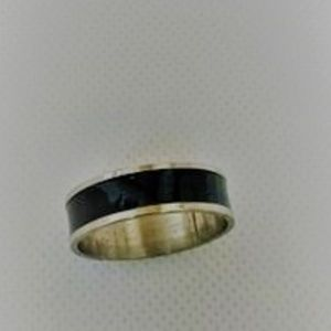 On Sale New Black & Silver Unisex Ring Size 11 1/2